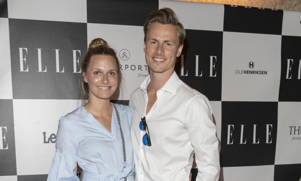 VENTER BARN: Anja Johansen og Lavrans Solli gleder seg til å bli foreldre igjen. Her er paret under Elles sommerfest i fjor sommer. Foto: Andreas Fadum, Se og Hør