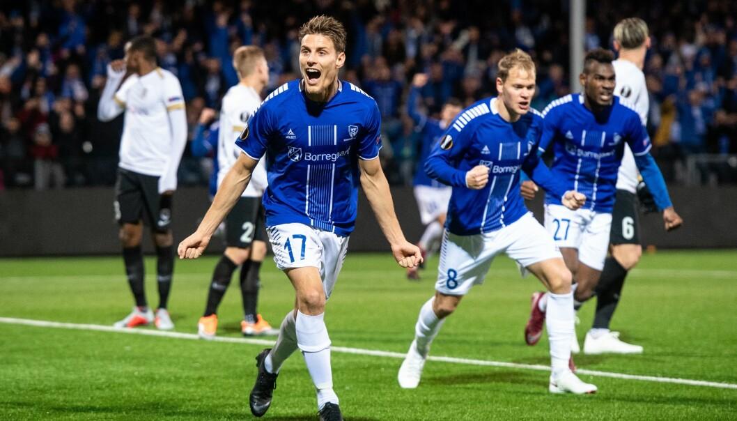 <strong>HJEMMESEIER:</strong> Sånn så det ut da Sarpsborg slo Genk 3-1. Norges beste lag i Europa kan slå Besiktas også. Foto: NTB/Scanpix