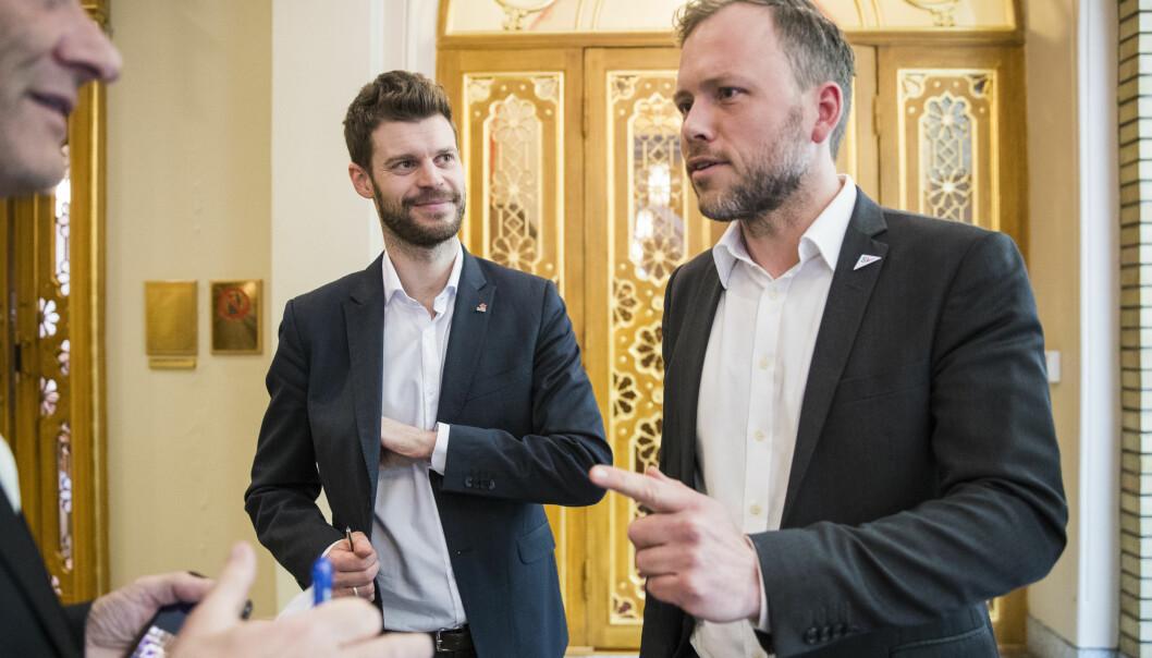 <strong>SAVNER MENN:</strong> Venstresida vil ha flere norske menn på sin side, her ved Bjørnar Moxnes (Rødt), Audun Lysbakken (SV) og Jonas Gahr Støre (Ap). Foto: Håkon Mosvold Larsen / NTB Scanpix