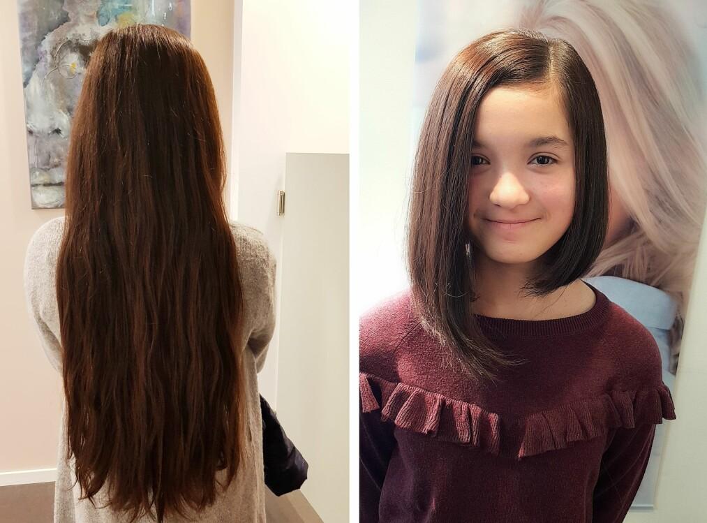 <strong>HÅRDONASJON:</strong> Tretten år gamle Muazzam sparte håret sitt i tre år før hun klipte det for en god sak. Nå skal hun spare i tre nye år! FOTO: Privat