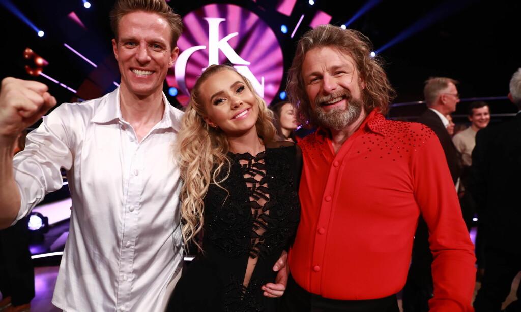 SEMIFINALISTER: Martine Lunde, Jan Gunnar Solli og Einar Nilsson er klare for lørdagens semifinale i «Skal vi danse». Foto: Thomas Reisæter/ TV 2
