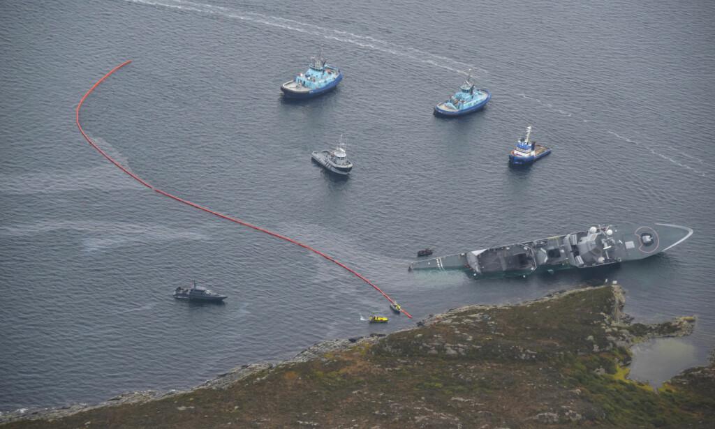 UTRUSTET: Iølge Forsvarets hjemmeside for standard oppsett av de fem fregattene er de utrustet med missiler, synkeminer og torpedoer. Foto: Kystverket / NTB scanpix