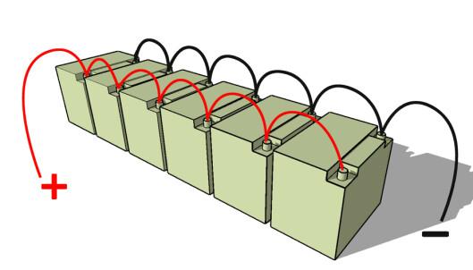 PARALLELLKOBLET: Når batteriene er sammenkoblet slik øker kapasiteten, mens spenningen blir den samme. Illustrasjon: Øivind Lie-Jacobsen