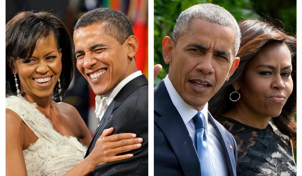 SAMMEN I TYKT OG TYNT: USAs tidligere presidentpar, Michelle og Barack Obama, har holdt sammen i snart 30 år - og livet deres har ikke bare vært enkelt. Foto: NTB scanpix