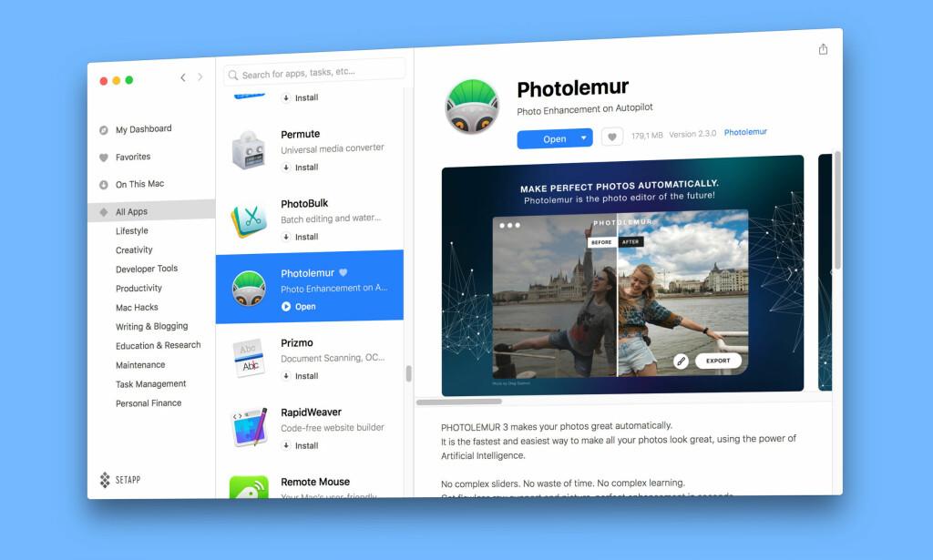 VELG OG VRAK: Setapp tilbyr fri bruk av 100 Mac-apper mot en månedlig avgift. Foto: Pål Joakim Pollen