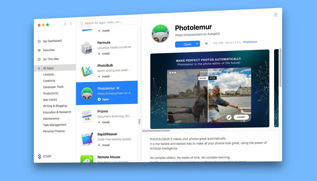 <strong>VELG OG VRAK:</strong> Setapp tilbyr fri bruk av 100 Mac-apper mot en månedlig avgift. Foto: Pål Joakim Pollen
