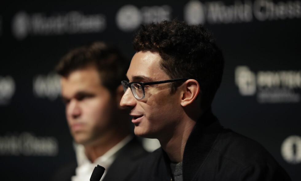 USAS STORE HÅP: Fabiano Caruana kan bli den første amerikanske verdensmesteren siden 1972. Foto: Matt Dunham / AP / NTB Scanpix