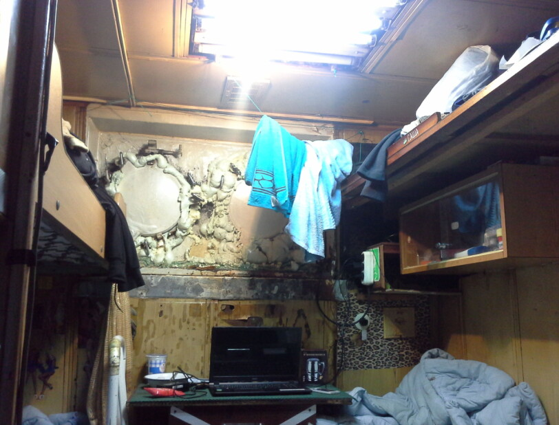 """DIRTY CABIN: According to the crew, conditions on board """"Kalmar"""" were poor. Photos show leaks sealed with polyurethane foam."""