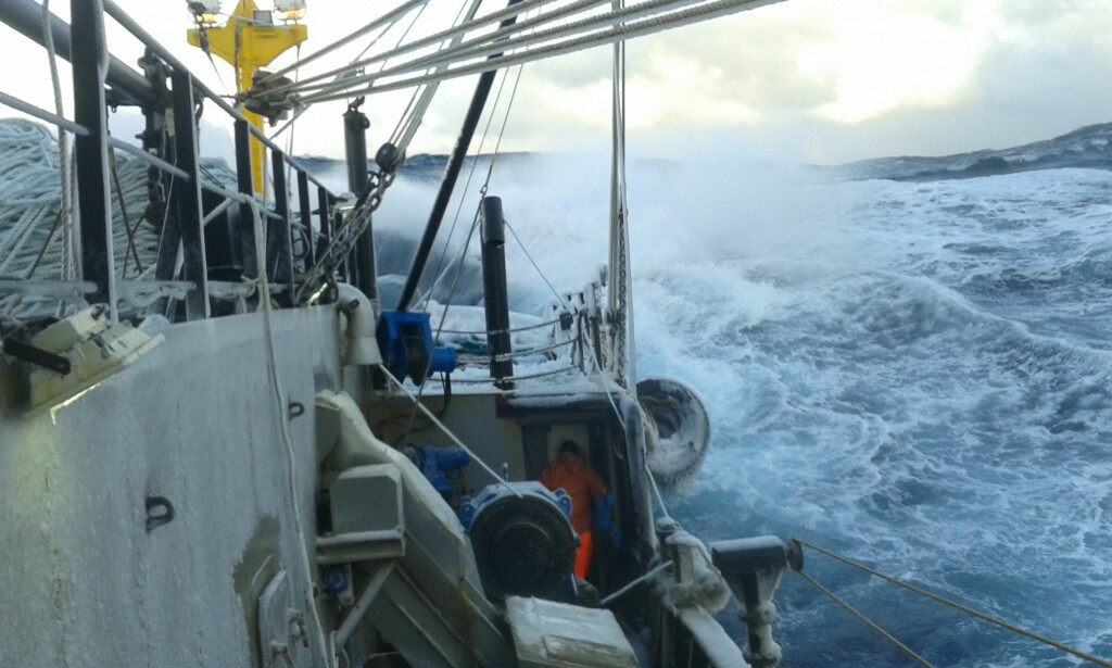 """IN ROUGH WEATHER: Dmitry sent this photo home to his wife from the snow crab boat """"Valka"""" while he was at work in the Barents Sea in March 2016."""
