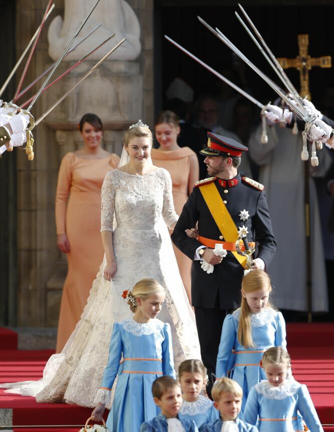 LYS FREMTID: Stephanie og Guillaume var svært lykkelige da de giftet seg i 2012. Foto: NTB scanpix