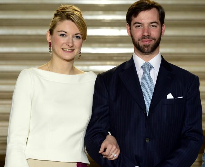 SKJULTE FORHOLDET: Mange ble overrasket da det ble kjent at Guillaume hadde funnet lykken med belgiske Stephanie de Lannoy. Her avbildet i april 2012, da forlovelsen ble kunngjort. Foto: AFP/ NTB scanpix