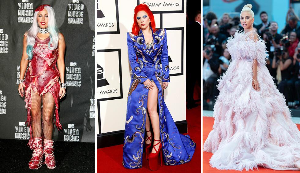 VILL FORANDRING: Superstjernen Lady Gaga har vært gjennom en enorm stilforandring. Her avbildet i 2010, da hun sjokkerte med en kjole laget av oksekjøtt, i 2016 og i 2018. Foto: NTB scanpix