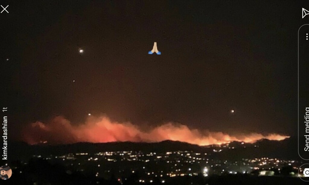 JOKKSYN: From his private flight, Kim Kardashian saw a neighborhood in fire and flame. Photo: Instagram