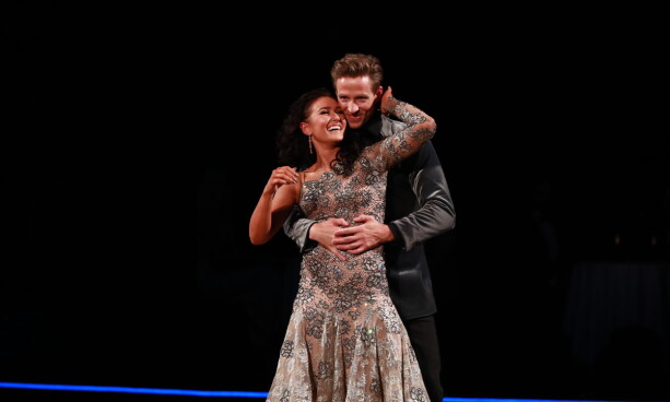TOPPSCORE: Jan Gunnar Solli and Rikke Lund scored the highest score in the competition, 40 points, for the second dance of the night when they played a Viennese ball. Photo: TV 2