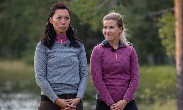 AMPERT: Andrea Badendyck følte seg forhåndsdømt av Irene Halle (t.v.). Her like før tvekampen. Foto: Alex Iversen / TV 2