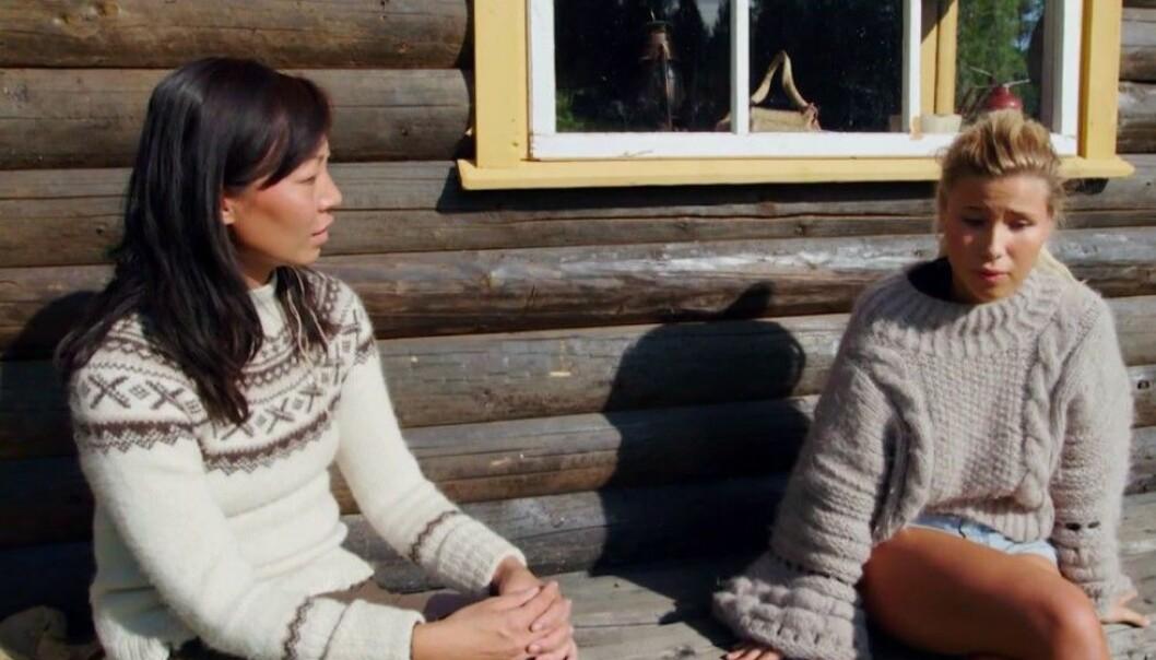 MUNNHOGGERI: Irene Halle og Andrea Badendyck havnet stadig på krigsstien gjennom tv-oppholdet. Foto: TV 2