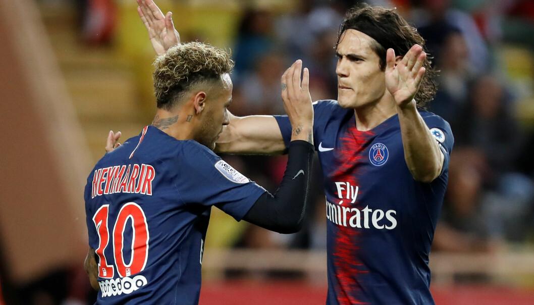<strong>MÅLSCORERE:</strong> Både Neymar og Edison Cavani(3) tegnet seg på scoringslista mot Monaco søndag kveld. Foto: NTB/Scanpix