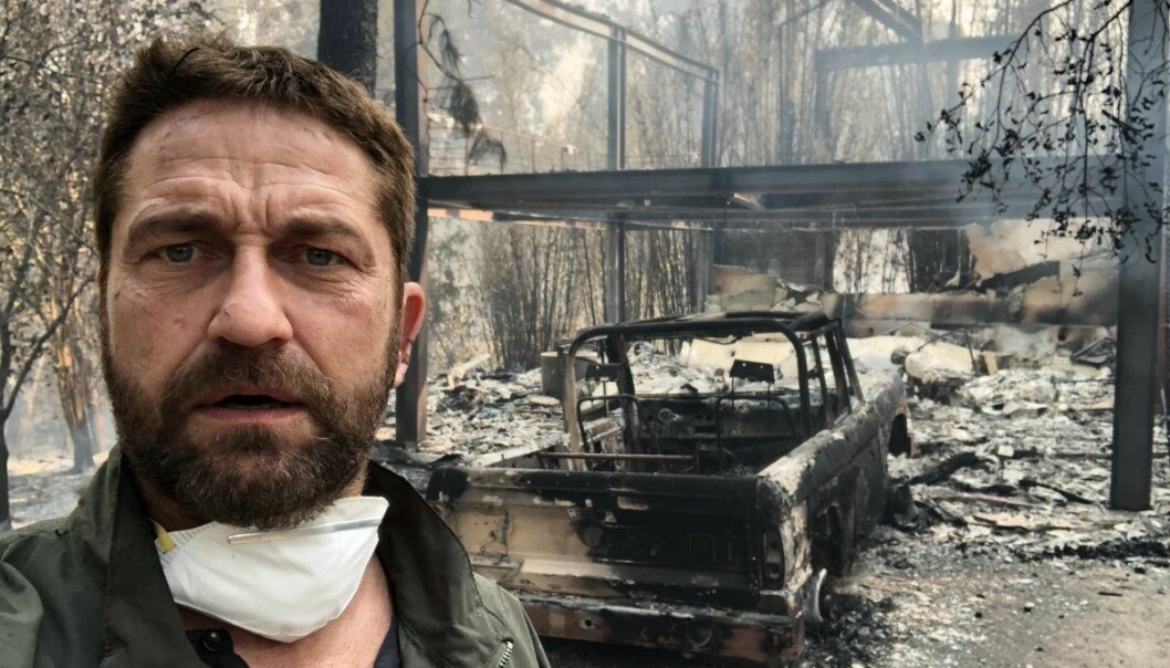 NEDBRENT: «Vendte tilbake til hjemmet mitt i Malibu etter å ha evakuert. Hjerteskjærende tider i hele California», skriver skuespilleren Gerard Butler på Twitter og Instagram. Foto: Gerard Butler / Twitter