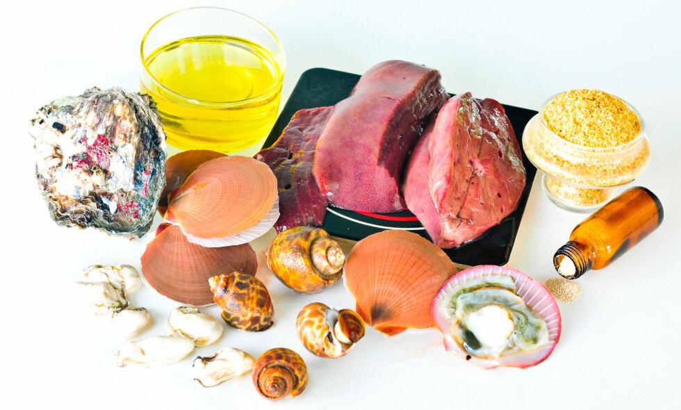MATVARER MED KROM: Krom finnes i skalldyr, kjøtt, nøtter og grovt brød. Foto: NTB Scanpix/Shutterstock