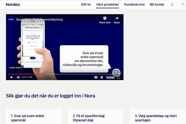 TRE STEG: Er du kunde hos Nordea, kan du logge inn i nettbanken og få hjelp av spareboten Nora. Foto: skjermdump.