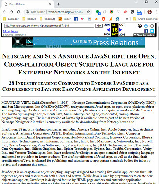 Netscape annonserer Javascript i 1995. 📸: Wayback Machine