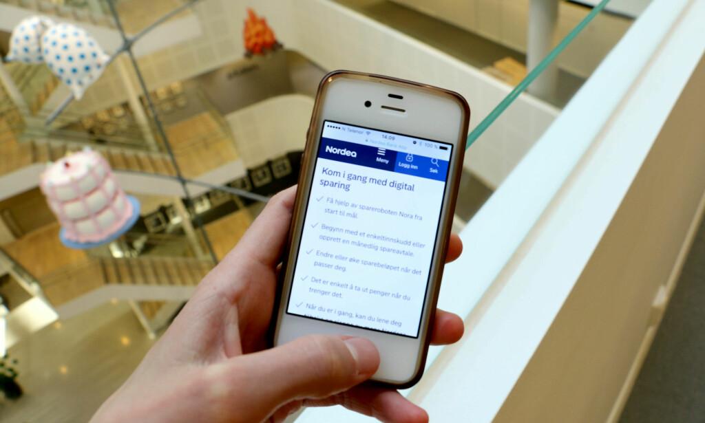 NY ROBOT: Etter ett år på markedet i Sverige har Nordeas nye sparebot kommet til oss også. Forbrukerrådet er positive til denne og lignende roboter i andre banker. Foto: Eilin Lindvoll.