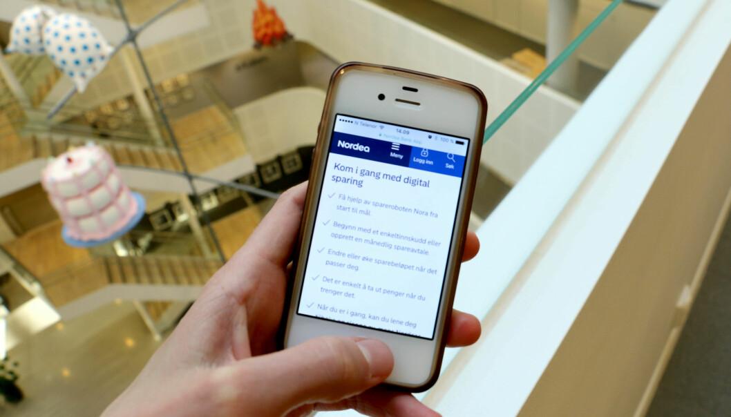 <strong>NY ROBOT:</strong> Etter ett år på markedet i Sverige har Nordeas nye sparebot kommet til oss også. Forbrukerrådet er positive til denne og lignende roboter i andre banker. Foto: Eilin Lindvoll.