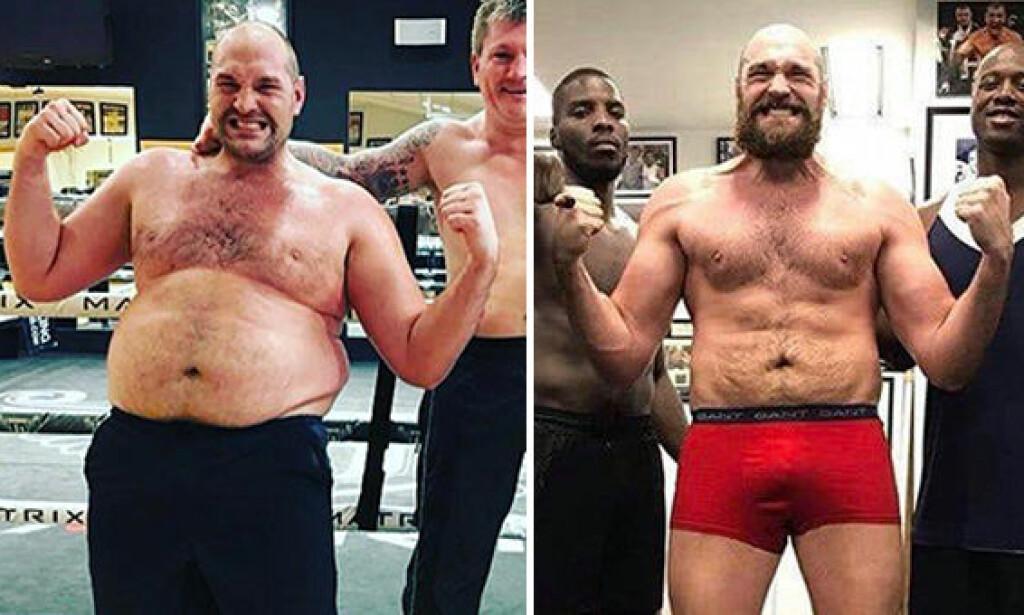 STOR FORSKJELL: Disse bildene er tatt med ett års mellomrom. Tyson Fury er tilbake i gammelt toppslag nå. Foto: Twitter / Tyson_Fury