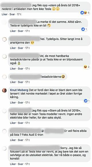 KRITISKE: Slik var én av samtalene i Facebook-gruppen «Tesla Owners Club Norway» angående Årets Biul-kåringen. Skjermdump: Facebook