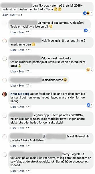 <strong>KRITISKE:</strong> Slik var én av samtalene i Facebook-gruppen «Tesla Owners Club Norway» angående Årets Biul-kåringen. Skjermdump: Facebook