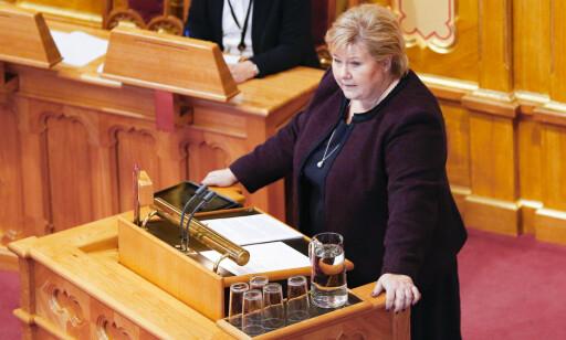 OSLO  20181114. Statsminister Erna Solberg under Stortingets muntlige spørretime onsdag formiddag. Foto: Fredrik Hagen / NTB scanpix