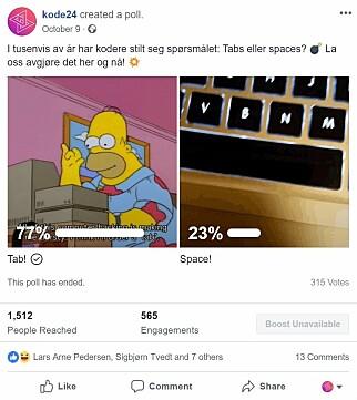 315 utviklere svarte på vår uhøytidelige spørreundersøkelse om tabs vs spaces på facebook. 📸: Jørgen Jacobsen