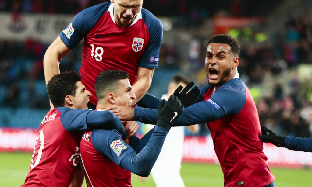 SÅNN SKAL DET SE UT: Moi Elyounoussi ga Norge 1-0 mot Bulgaria på Ullevaal. Det skapte så mye glede.Joshua King (th) burde gitt oss 2-0 da han bommet for åpent mål. Det kan, om vi ikke scorer nok mot Slovenia og Kypros, være missen som til slutt koster Norge gruppeseieren i Nations League. Foto: Bildbyrån