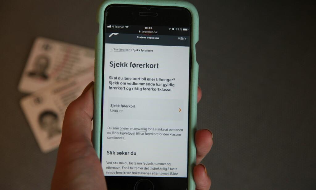 SJEKK PÅ NETT: Nå kan du søke opp andres førerkort på Statens vegvesen sine nettsider. Foto: Christina Honningsvåg