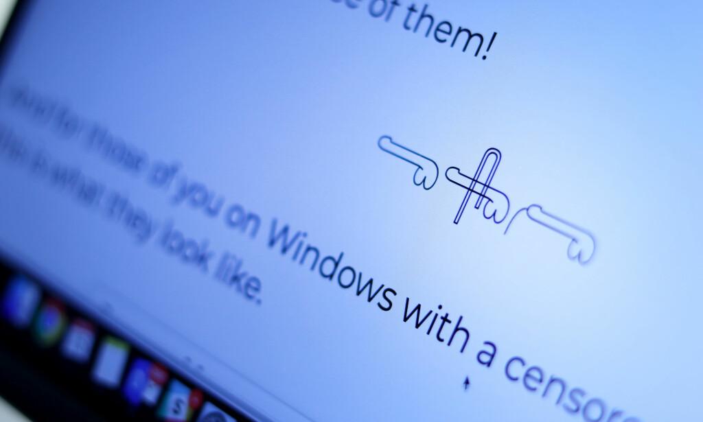 Unicode har støtte for tre forskjellige penis-hieroglypher. 📸: Ole Petter Baugerød Stokke