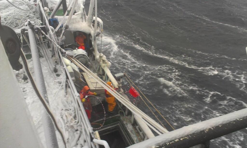 FARLIG ARBEID: Arbeid på snøkrabbebåter i det kalde Barentshavet blir ekstra krevende når arbeidstida strekker seg til 18 timer i døgnet i opp til to år. Foto: Privat