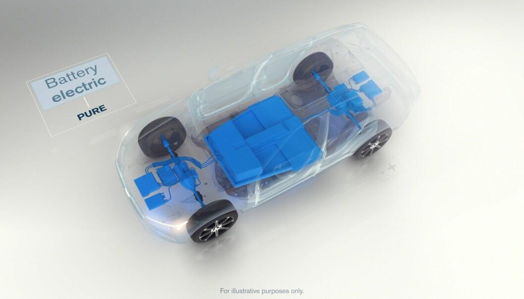 <strong>PLATTFORMEN:</strong> Slik ser det elektriske drivverket i Volvo XC40 ut. Det har mulighet for to elektriske motorer – en foran og en bak – noe som vil gir firehjulstrekk.