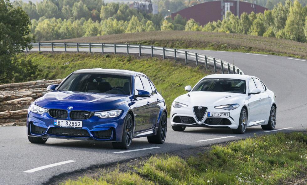 AMBISIØST: Alfa Romeo har fra starten ikke lagt skjul på at det er BMWs heftigste treere som er referansen det gjelder å slå med Giulia Quadrifoglio. Om de klarer det? Svaret får du i vår duell. Alle foto: Jamieson Pothecary / Autofil
