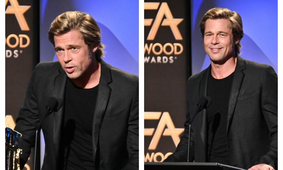 OVERRASKET: Brad Pitt har holdt en særs lav profil etter bruddet med Angelina Jolie. Denne måneden dukket han opp i offentligheten igjen, og så mer opplagt ut enn på lenge. Foto: NTB Scanpix