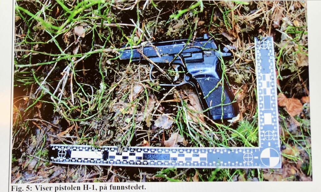 HVOR VAR VÅPENET: Pistolen som avfyrte det dødelige skuddet ble funnet i et skogsområde mellom Hamar og Brumunddal i mai. Makaroven var tidligere meldt stjålet i Tsjekkia i 2007. Foto: Politiet