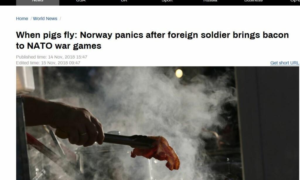 SLÅTT STORT OPP: Avisa Russia Today omtaler matskandalen i Norge.