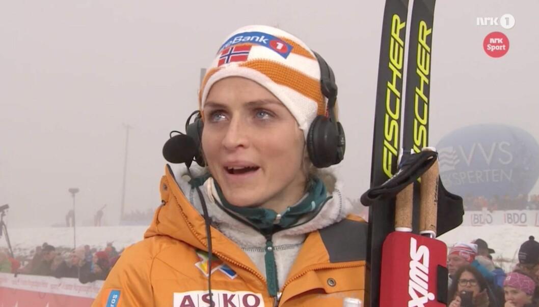 RØRT: Therese Johaug la ikke skjul på at de siste årene har vært tøffe. Skjermdump med tillatelse fra NRK