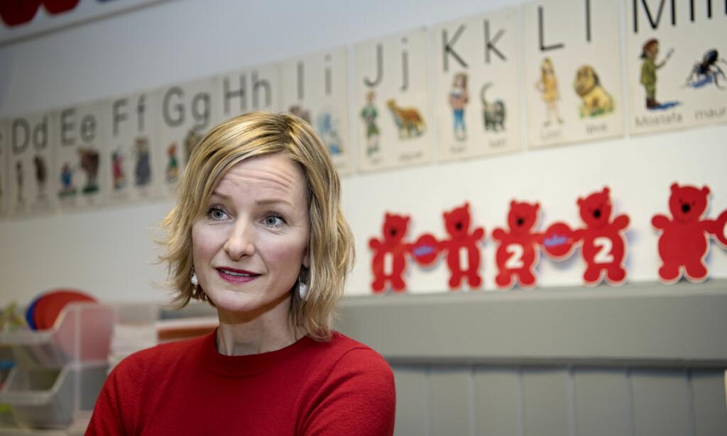 SVARER: Inga Marte Thorkildsen, byråd for oppvekst og kunnskap (SV), svarer på påstander om byrådet i Oslo. Foto: Mimsy Møller / Samfoto / NTB Scanpix