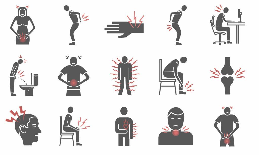 SMERTER: Smerter kan oppstå på ulike steder i kroppen, på forskjellige tidspunkt og i ulike sammenhenger. Prøv å fortell legen din så nøyektig som mulig om hvor det gjør vondt og om noe utløser smertene. Illustrasjon: NTB Scanpix/Shutterstock