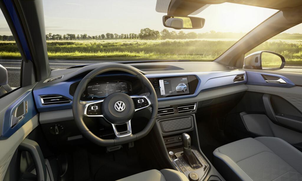 MODERNE: Interiøret er moderne og ikke ulikt det vi finner i de populære SUV-ene til VW.