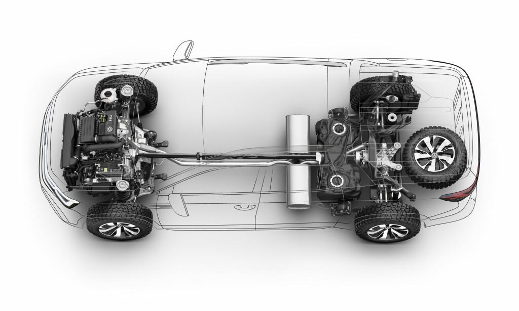 FIREHJULSTREKK: Firehjulstrekk blir standard og den kan kombineres med en dieselmotor og automatgir.