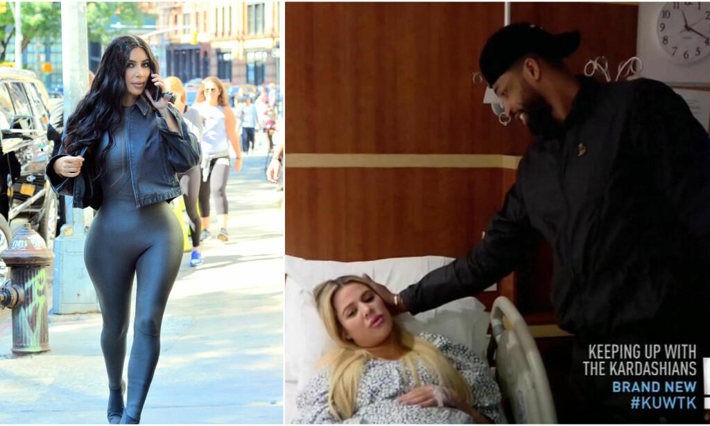 FÅR SE ALT: I den nye episoden av «Keeping up with the Kardashians» får fansen et innblikk i hva som egentlig skjedde på fødestua da Khloé fødte. Foto: NTB Scanpix