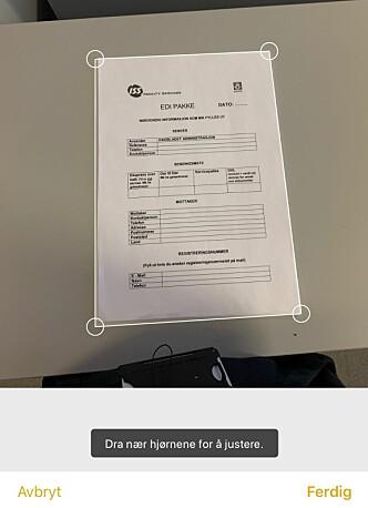 <strong>TILPASS DOKUMENTET:</strong> Etter at du har skannet inn et dokument i Notater-appen, kan du justere hjørnene, slik at hele dokumentet får plass. Skjermbilde: Kirsti Østvang