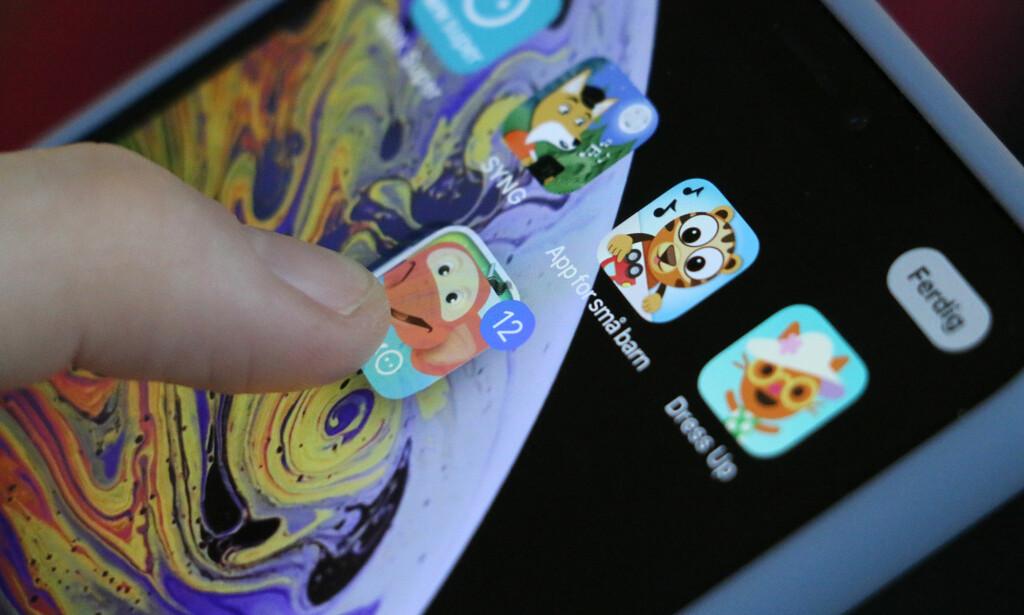 FLYTT FLERE APPER SAMTIDIG: Var du klar over at du kunne flytte flere apper på hjemskjermen samtidig på iPhone? Foto: Kirsti Østvang