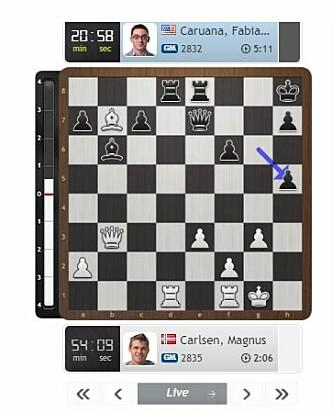 CARLSEN-TABBEN: Bonden fra h4 til h5, som deretter ble slått ut av Caruana. Skjermdump: Chess24.com.